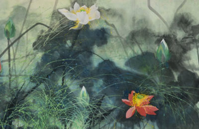 "Yuan-Yunfu-""Morning-Lotus""-colored-ink-on-paper-2012"