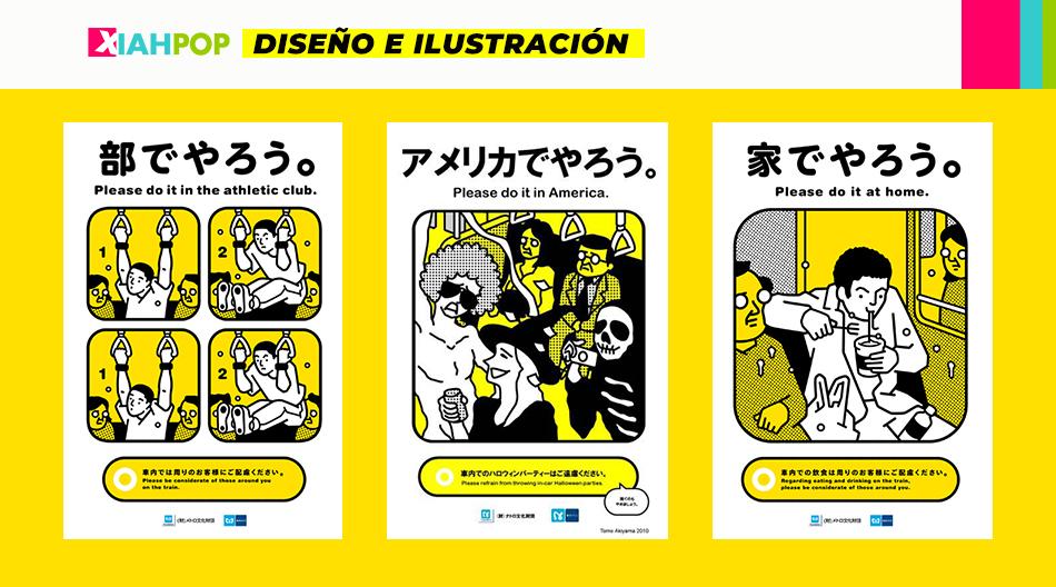 Increíbles carteles que fueron parte de los metros de Tokio